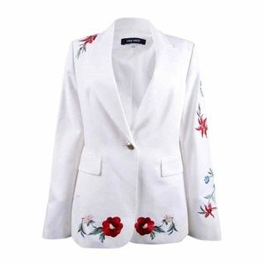 Nine West  Embroidered One-Button Blazer 12
